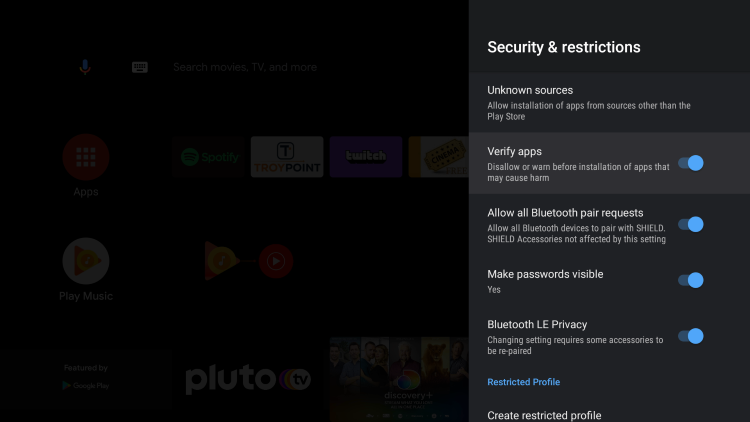 Click the Verify apps toggle. This is the setting that will disable play protect on your device.