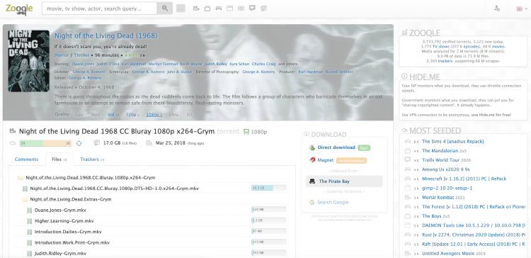 Visit a popular torrent site and search for the media file you're looking for.