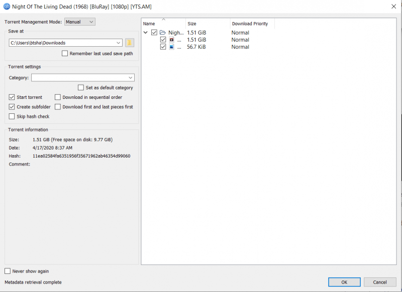 Your torrent client will open. Choose the path where you want the file to download and click Ok.
