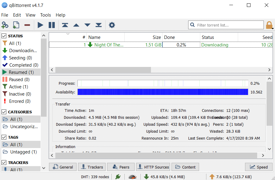 Your torrent file will begin to download.