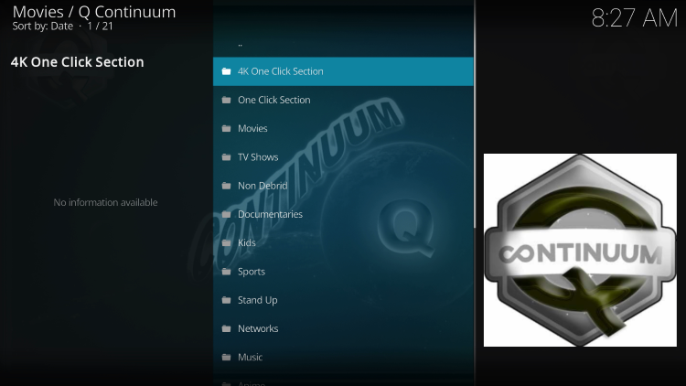 That's it! You have successfully installed the Q Continuum Kodi Addon