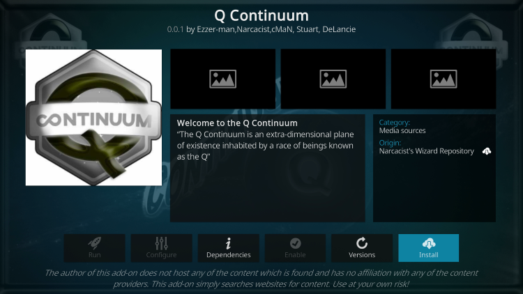 Click Installq continuum kodi