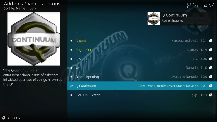 Wait for the Q Continuum kodi Add-on installed message to appear