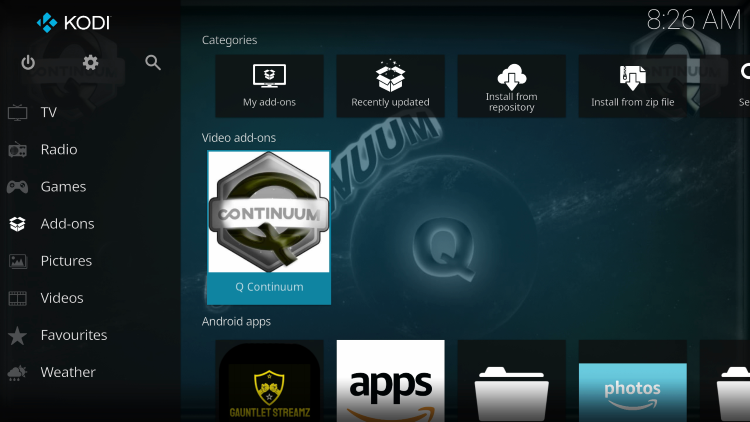 Return back to the home screen of Kodi and select Add-ons.Then click Q Continuum kodi