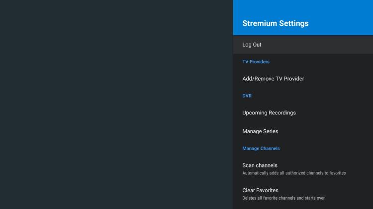 stremium settings