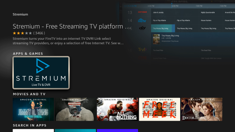 Click the Stremium app that appears under Apps & Games.