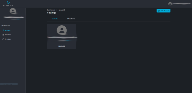 Once on the main dashboard of Stremium click Add Device.