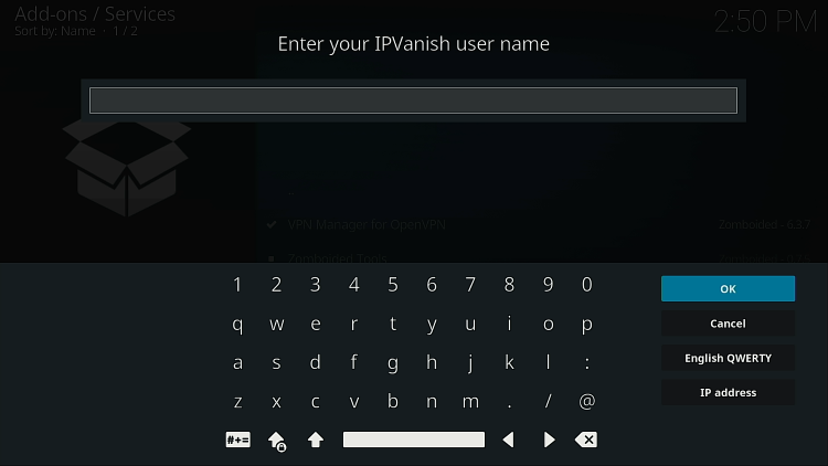 Entrez le nom d'utilisateur du VPN IPVanish