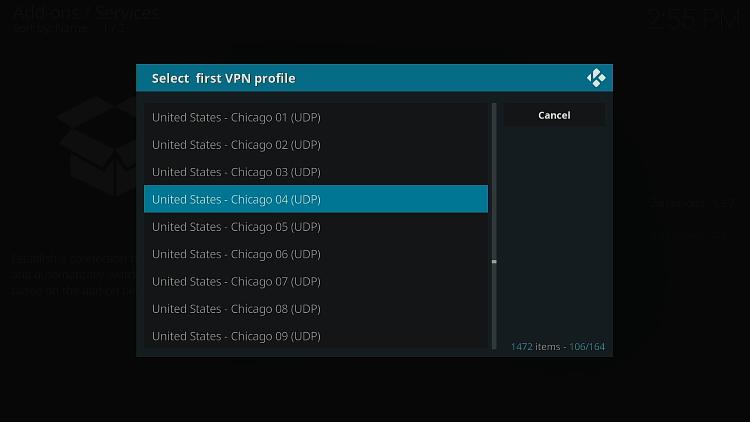 Choisissez l'emplacement VPN