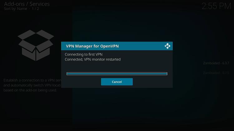 Attendez que le VPN sur LibreELEC se connecte