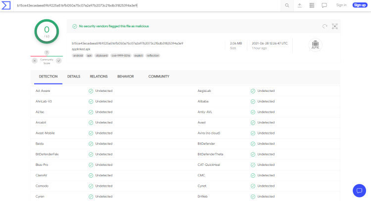 We also scanned the official APK file using VirusTotal, which did come back clean.