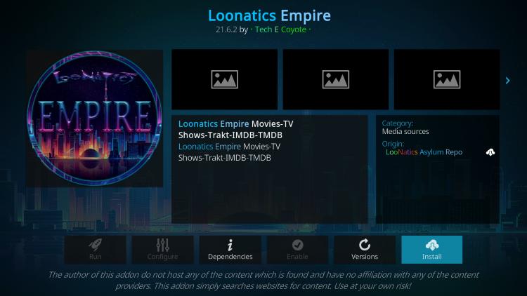 Click Install loonatics empire kodi addon