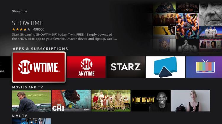 choose showtime app