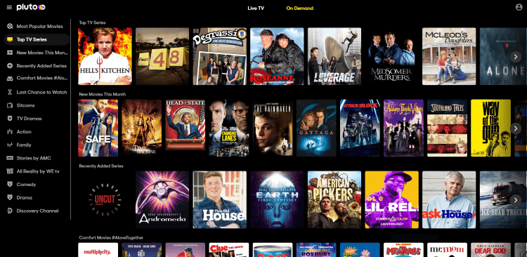 pluto tv project free tv alternatives