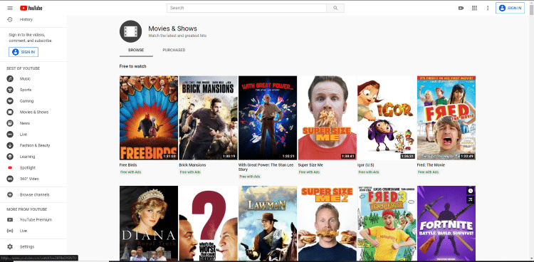 free movies on youtube website