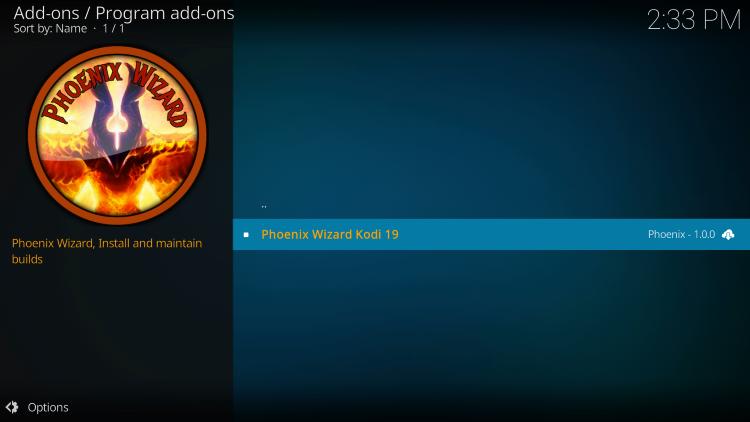Choose Phoenix Wizard Kodi 19 to find steampunk kodi build