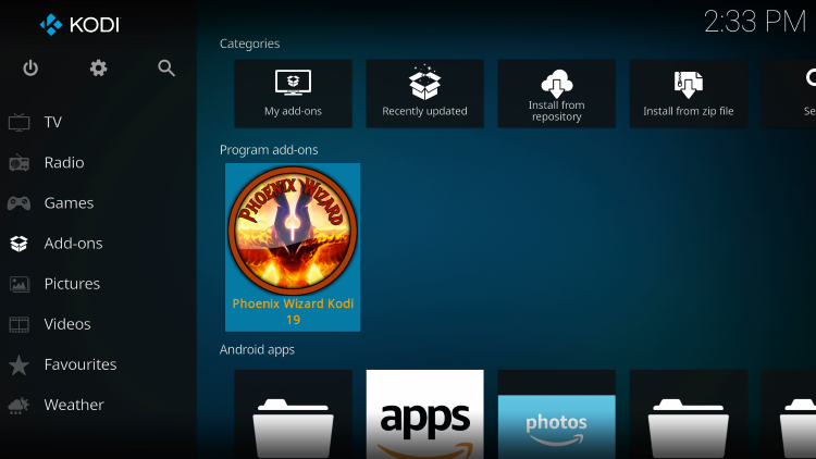 Return to the Kodi home-screen and under add-ons choose Phoenix Wizard