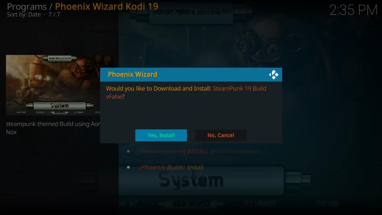 click yes install steampunk kodi build