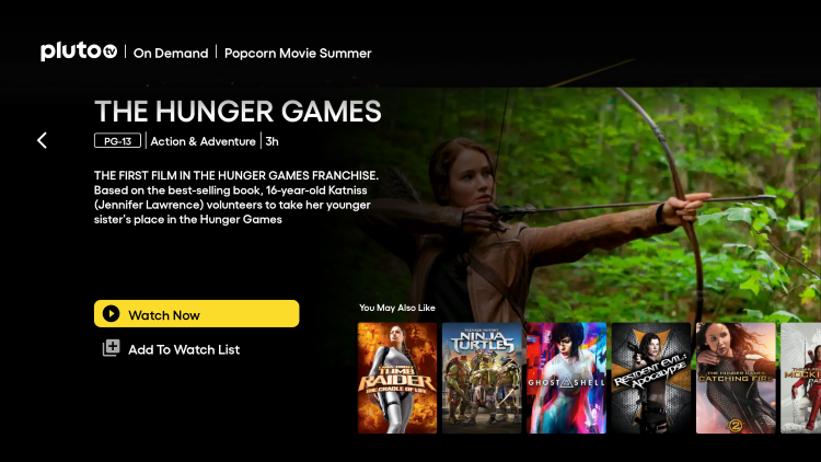 After clicking this option choose Watch Now. This will allow you to watch hunger games online