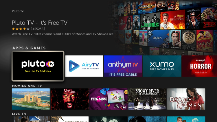 Click the option for Pluto TV under Apps & Games.