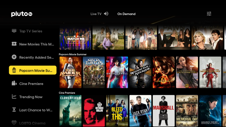 After installing Pluto TV, hover over the left menu and choose Popcorn Movie Summer.