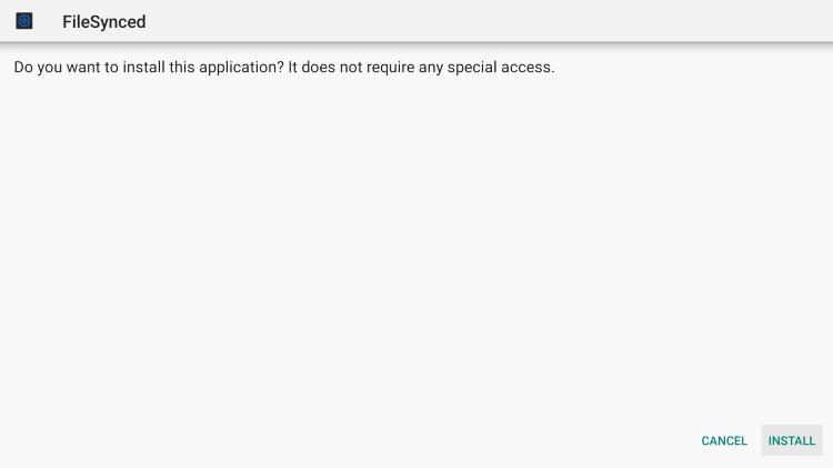 Click Install filesynced apk
