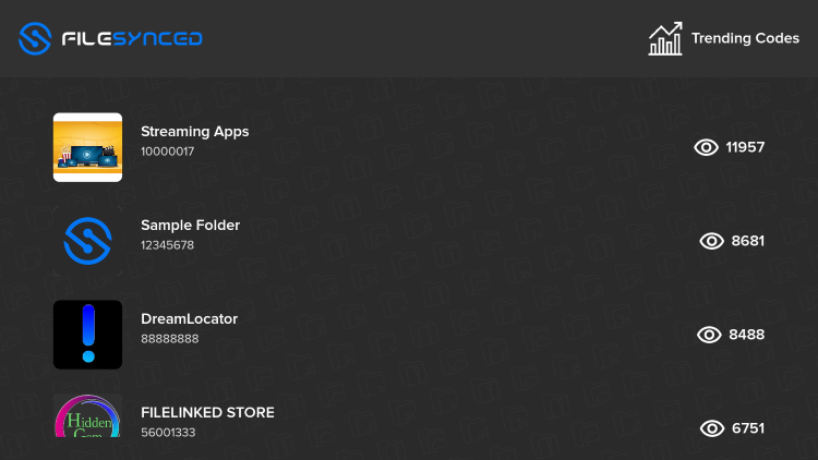 """You can also view the """"Trending Codes"""" option within FileSynced, as this is one of the best features of this app."""