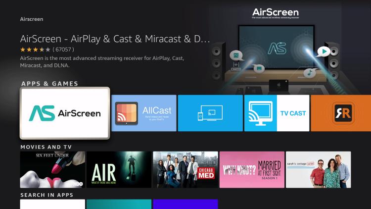 choose airscreen app