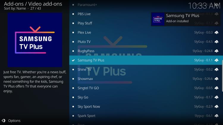 wait for samsung tv plus installed