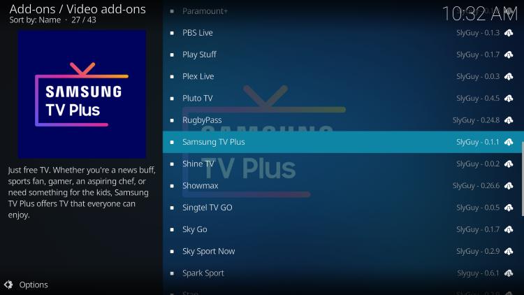 select samsung tv plus