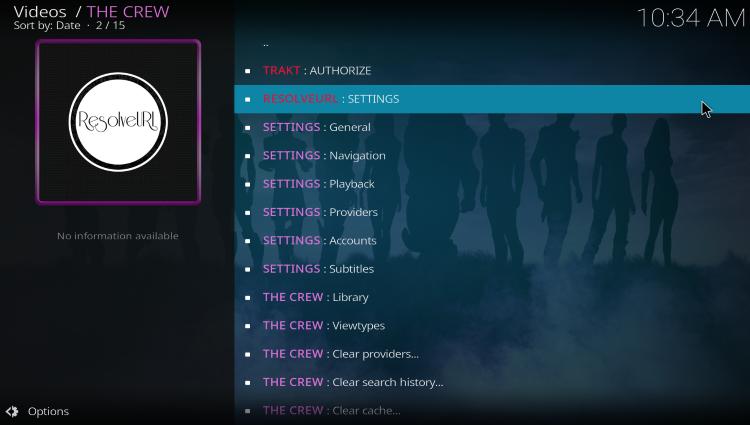 click resolveurl: settings