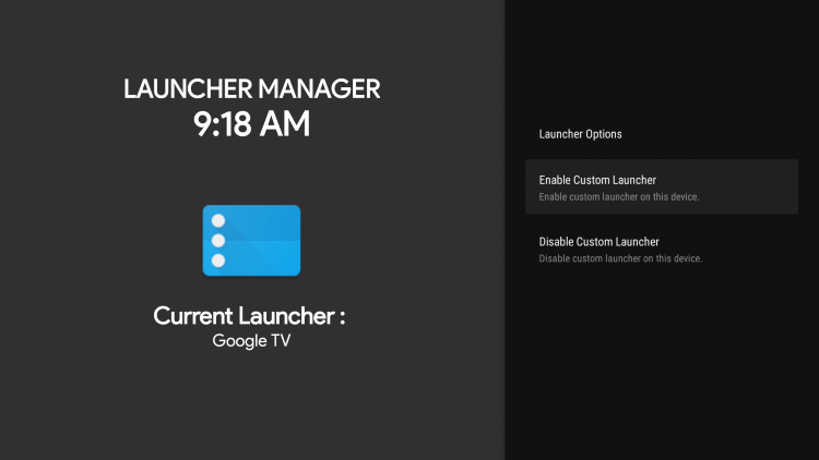click enable custom launcher