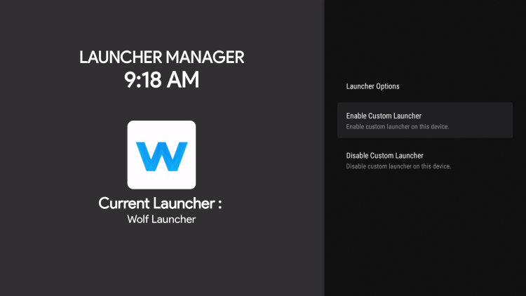 custom launcher will now read wolf launcher