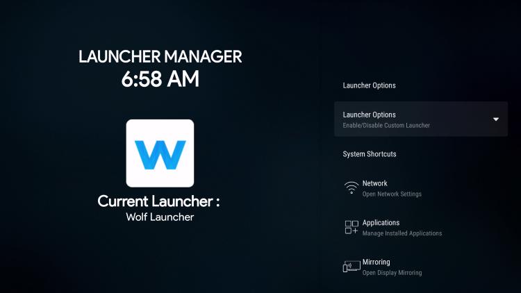 current launcher: wolf launcher