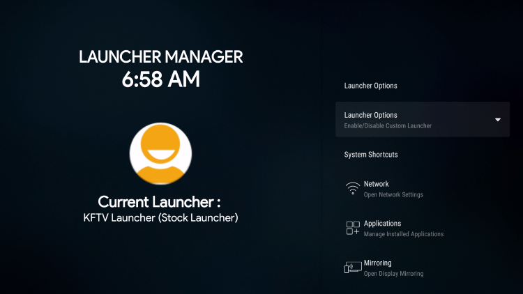 select launcher options