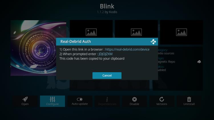 visit real-debrid.com/device and enter code