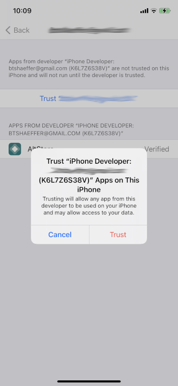 click trust again to install altstore