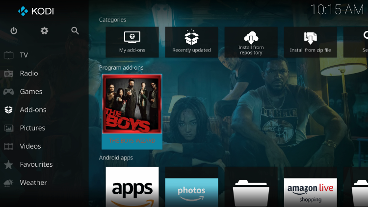 Return to the Kodi home-screen and under add-ons choose The Boys Wizard