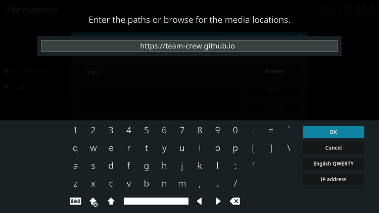Type the following URL exactly as shown here for installing cosmic one kodi build