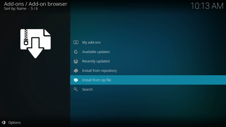 Click Install from zip file for cosmic one kodi build