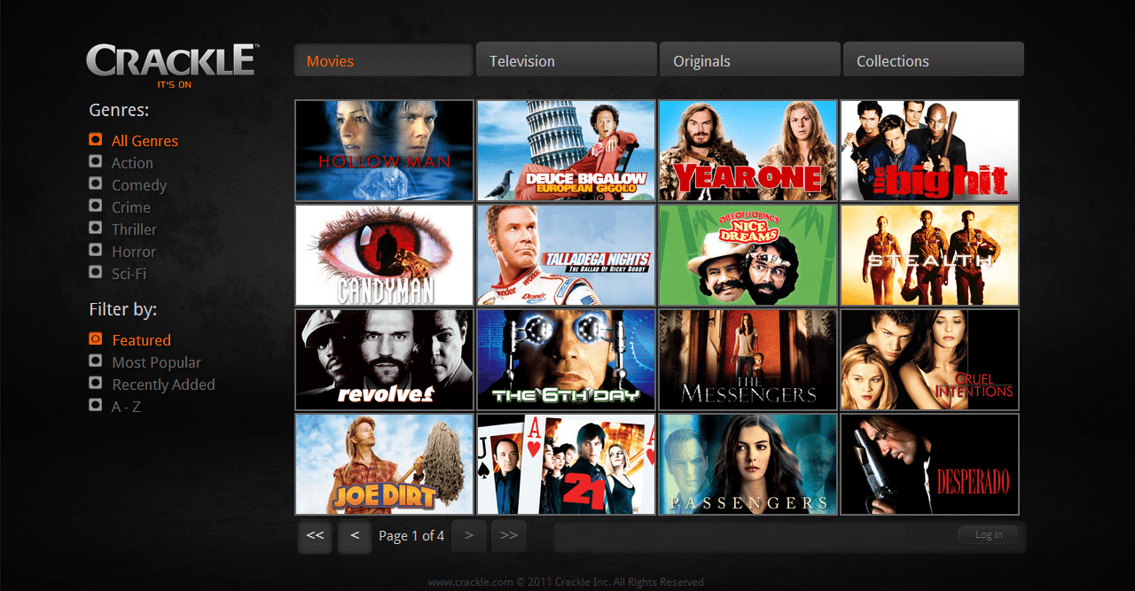 crackle interface free movie apps