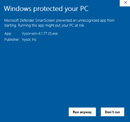 This message may appear if you are running Windows Defender. Click Run anyway as this software came back free of viruses/malware after scanning.