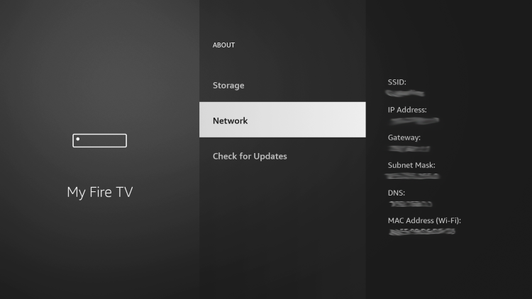 Hover over Network and write down your Firestick's IP Address.