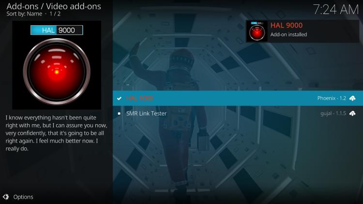 wait for hal 9000 kodi addon installed message