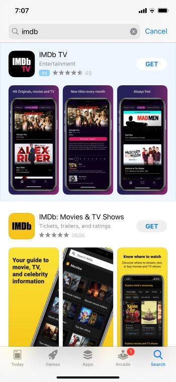 choose imdb tv app