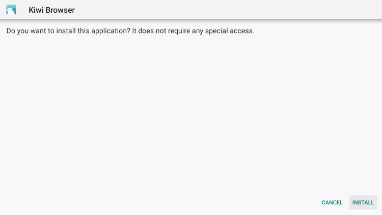 Click Install kiwi browser