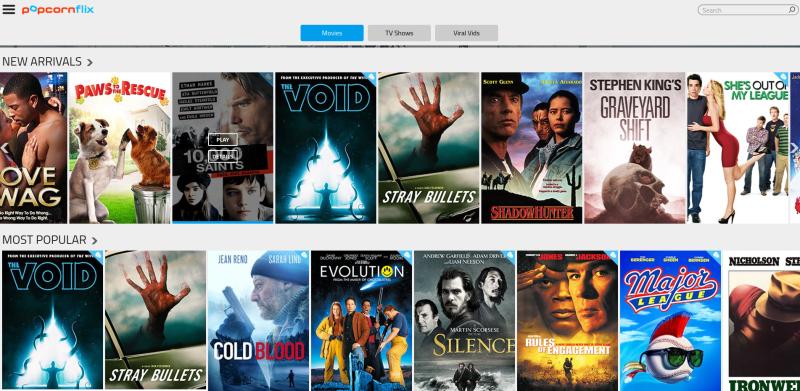 popcornflix interface free movie apps