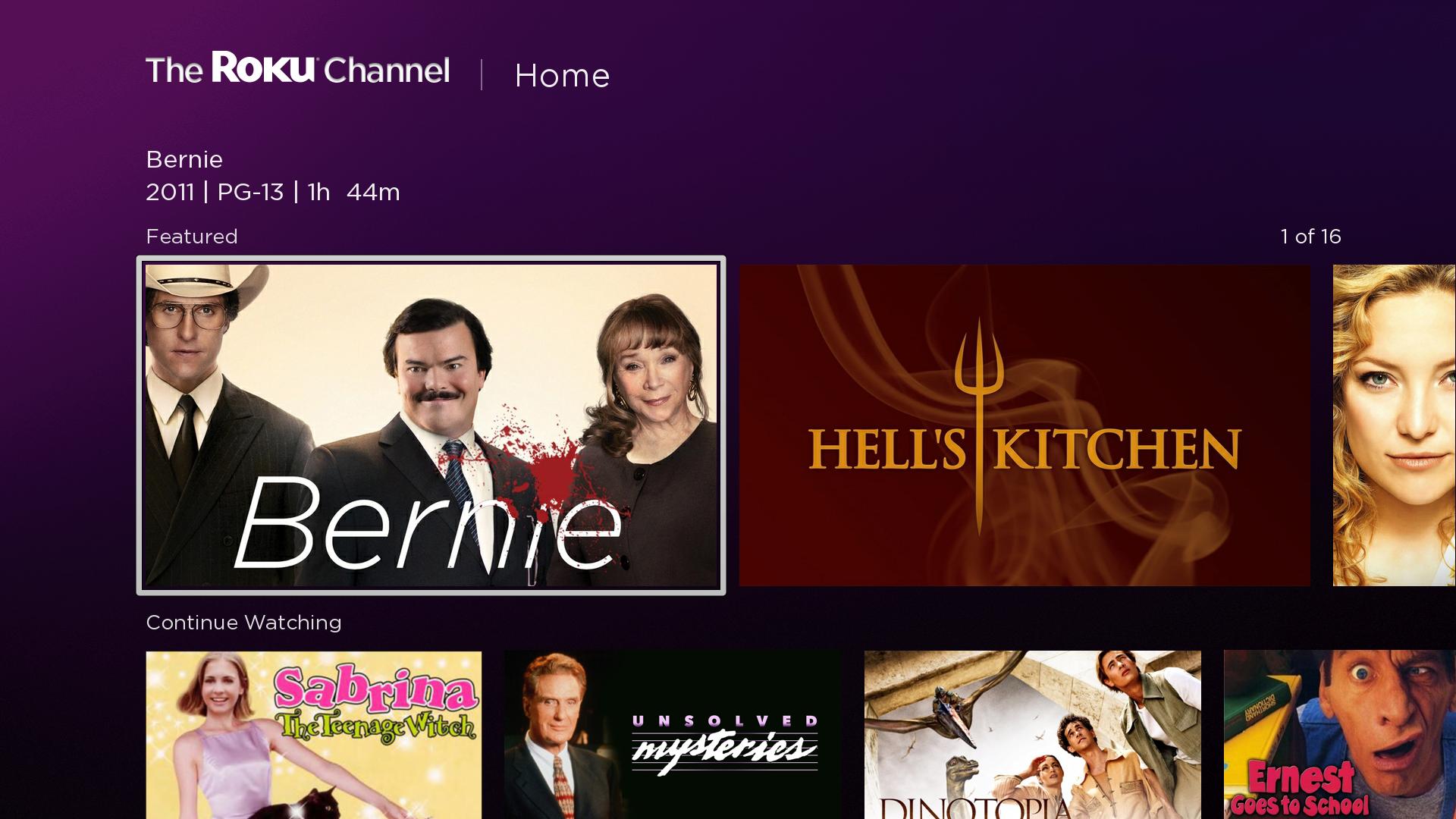 roku channel app interface free movie apps