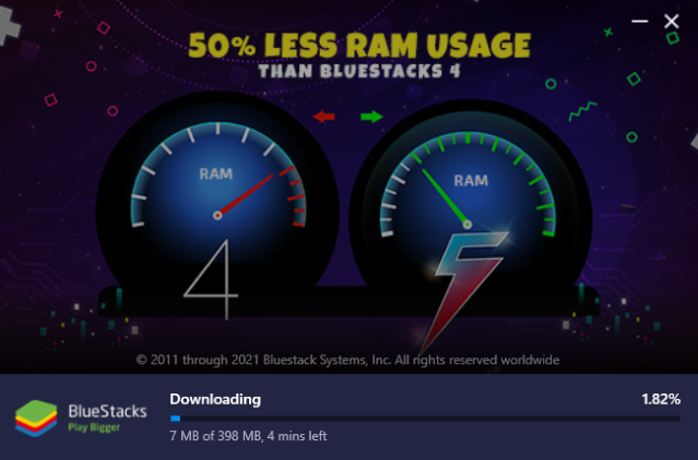 Wait a few minutes for BlueStacks to download on your Windows PC or Mac.