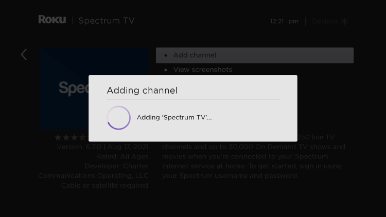 wait for spectrum app on roku to install